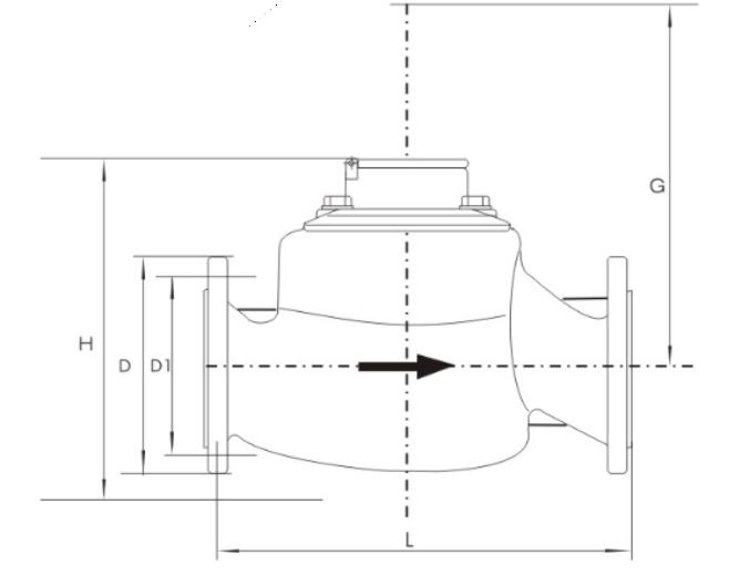 垂直螺翼式水表尺寸图